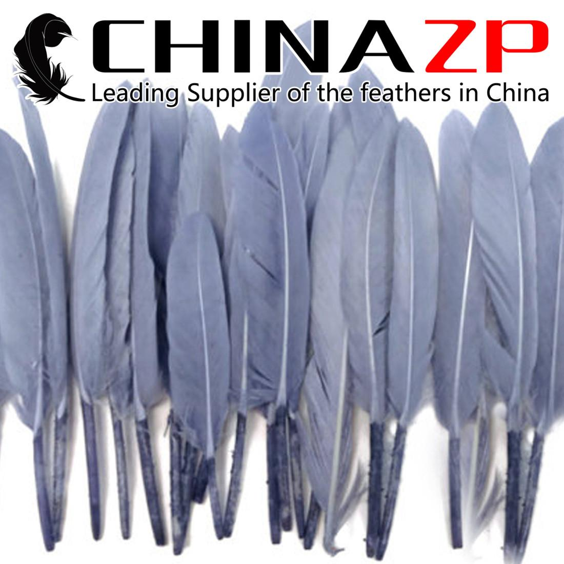 Leading Supplier CHINAZP Crafts Factory 200pcs/lot 7~12cm Length Selected Prime Quality Dyed Grey Duck Cochettes Loose Feathers