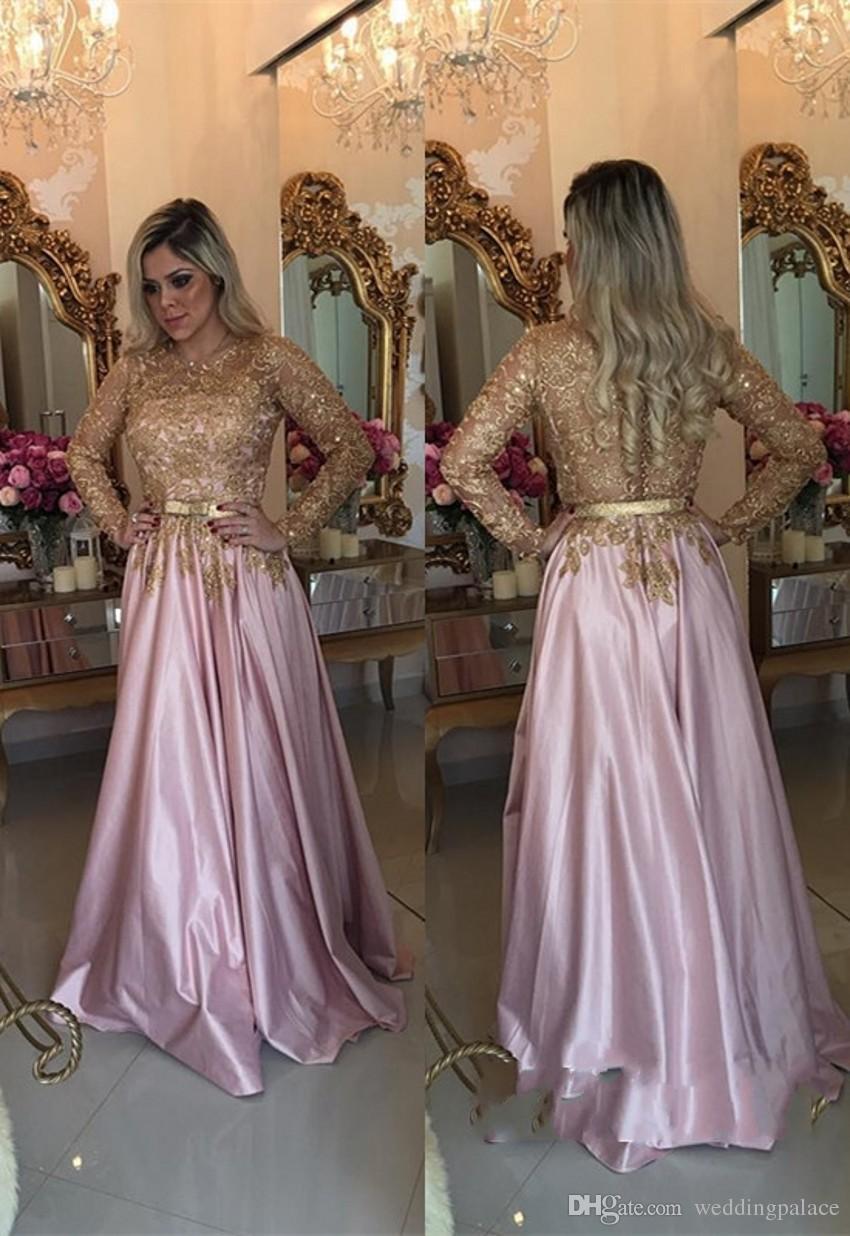 Dernières Rose O-Neck manches longues robes de soirée Bouton Retour perles balayage train Formal Robes de soirée Robe de Noche Robes de bal