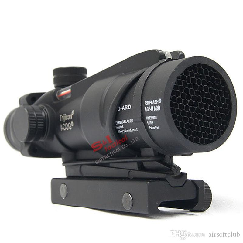 التكتيكية Trijicon Acog 4x32 الألياف البصرية نطاق ث / حقيقي أحمر / الأخضر الألياف crosshair riflescopes تأتي مع قتل فلاش