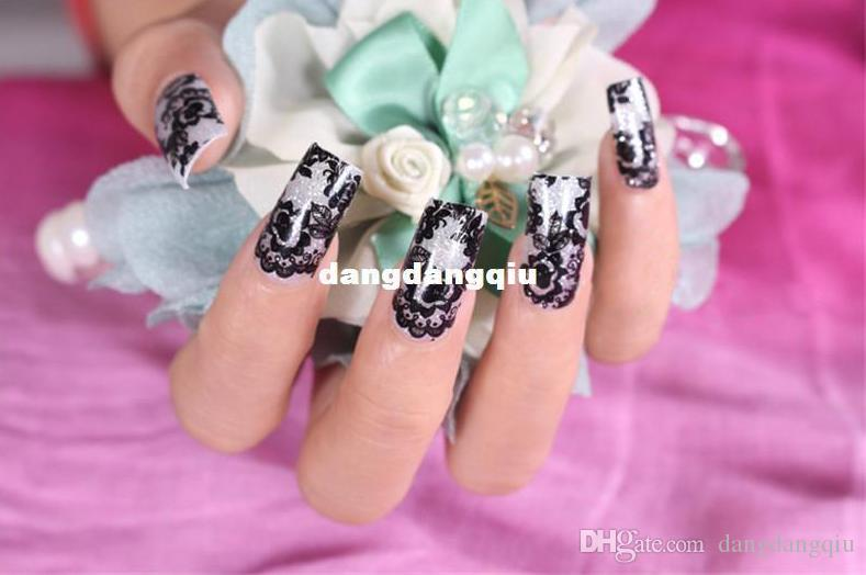 Wholesale 3d Nail Art Stickers 20 Designs Black Lace Transparent