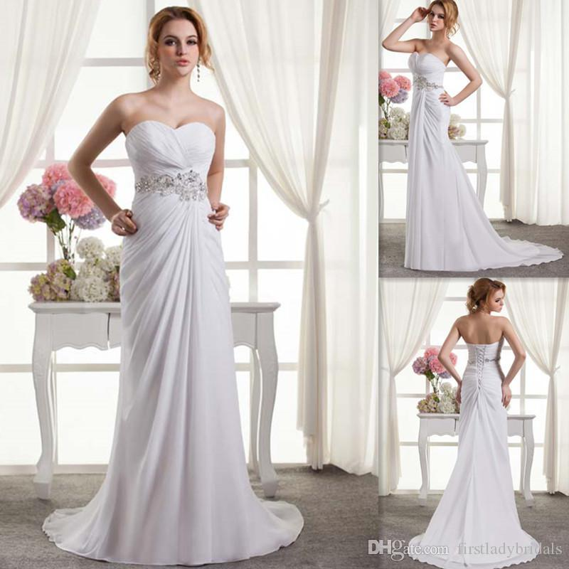 2015 Hawaiian Wedding Dresses Supplier Sheath White Chiffon ...