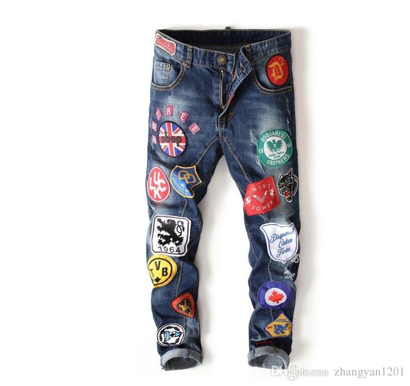 Famous Brand Designer Denim Jeans Justin Bieber Men Jean Ripped Jeans Blue  Mens Designer Denim Pants Hip Hop Embroidery More Badges UK 2019 From ... 48eff797b