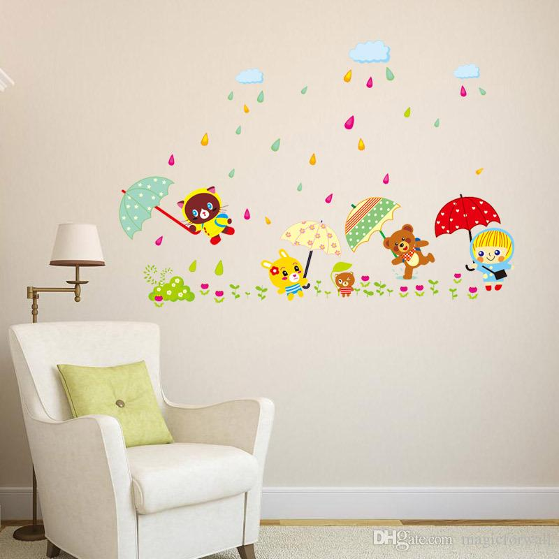 Removable PVC Wall Stickers Decal Decor--- New Design Animal Friends Bears Girl Open Umbrellas On Grass in Rainy Day Home Decor Wallpaper