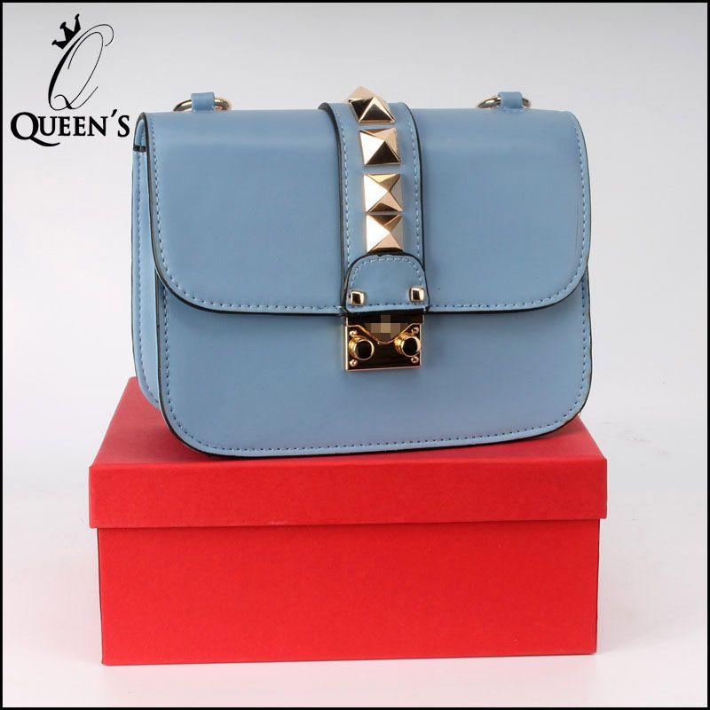 4a442fa72370 Wholesale New 2015 Fashion Solid Handbag Women Enuine Leather Bag Rivet  Chain Crossbody Messenger Bag V Bags For Women Canada 2019 From Bida Jany