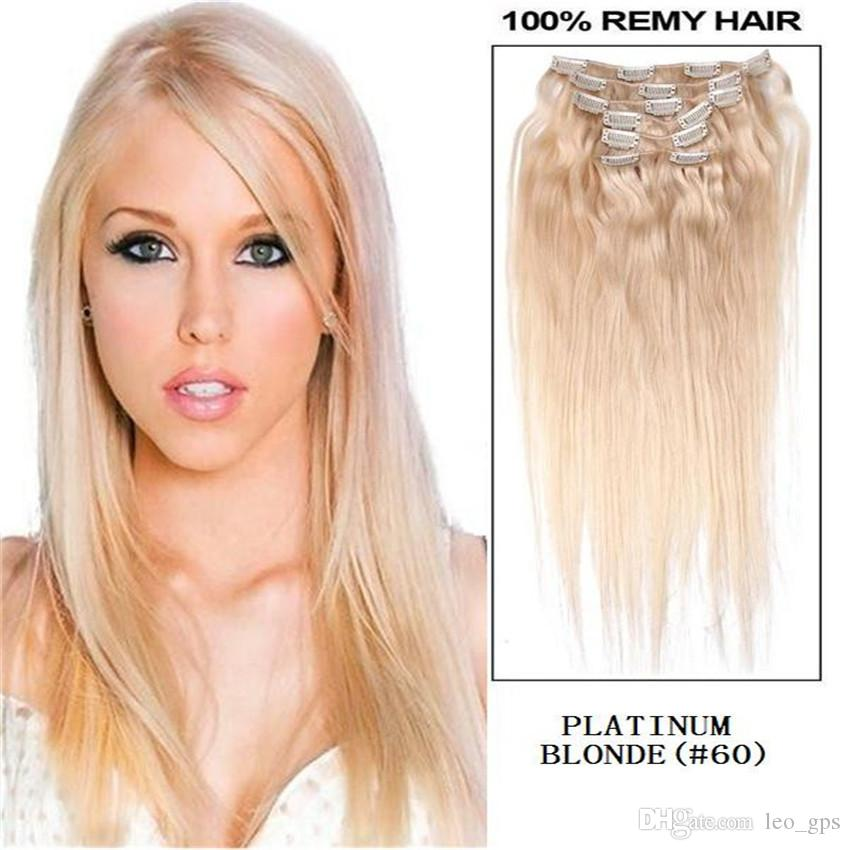16 26 Full Head Remy Clip In Human Hair Extension 60 Platinum