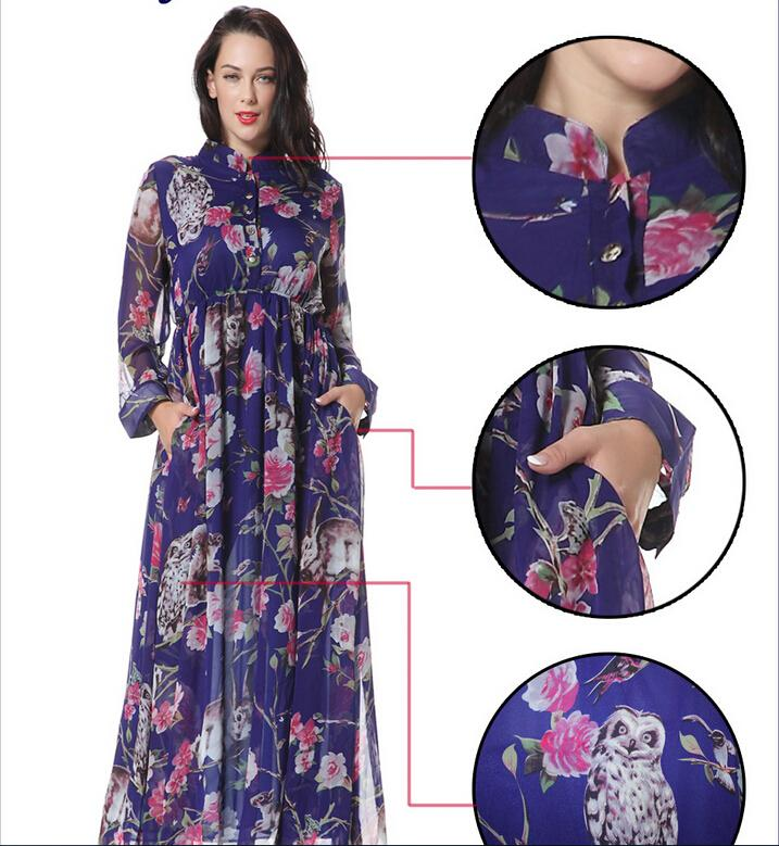 2016 Spring New Chiffon Casual Dresses for Womens Fashion Print Floral Stand Collar Long-sleeved With Pocket Maxi Dress Plus Size M-6XL