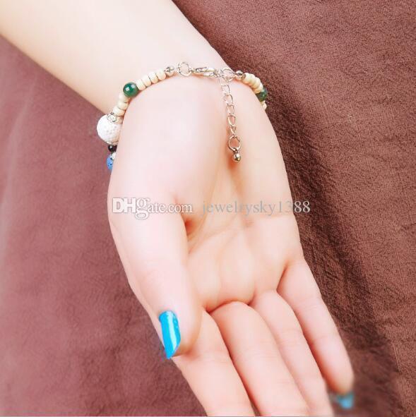 Moda Bohemian Multicolor Pedra De Lava Pulseiras Pulseiras Para As Mulheres Jóias de Prata Banhado A Cinco-ponto Estrela Difusor De Óleo Essencial Pulseira