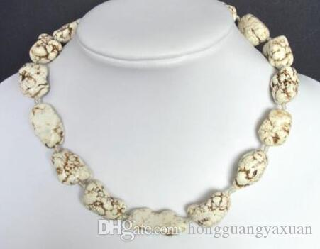 Gemstone Necklace White Turquoise Howlite 18-26mm Nuggets