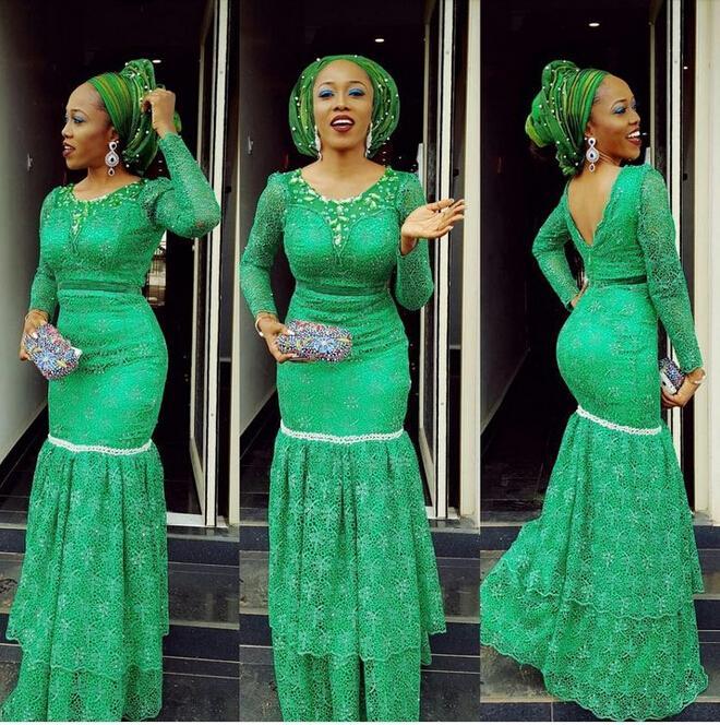 Длинные рукава Зеленые кружевные вечерние платья плюс размер 2016 ASO EBI стиль вечерних платьев открыть обратно сексуальные африканские модные выпускные платья