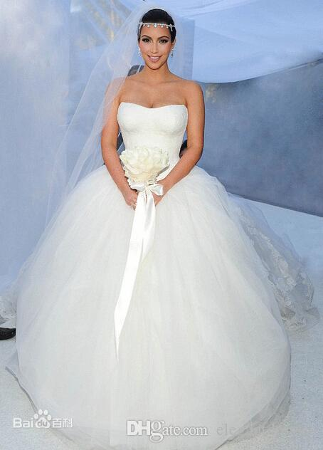 Kim Kardashian Lace Tulle Ball Gown Wedding Dresses Bridal Gown With Chapel Train New Arrival 2018 Cheap Dress