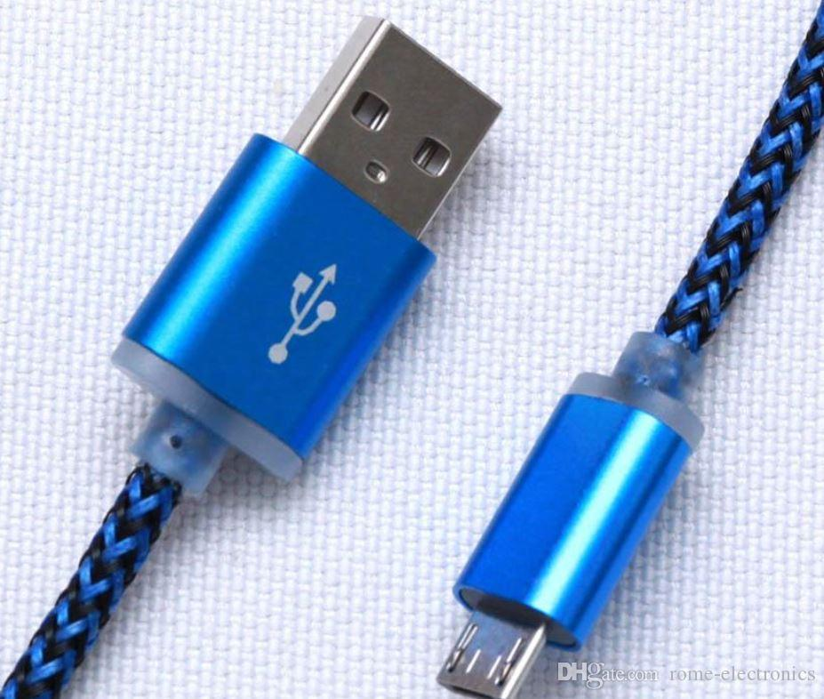 1M 3FT Nylon Strong Braided Micro USB Cable Aluminum Metal Head Charge Cable For Phones Samsung S6 S4 Note 5 HTC Sony
