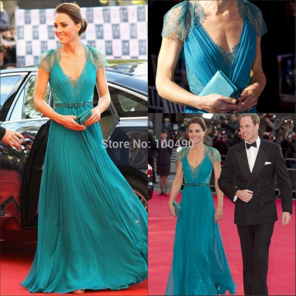 Elegant Princess Kate Middleton Turquoise V Neck Lace And Chiffon ...