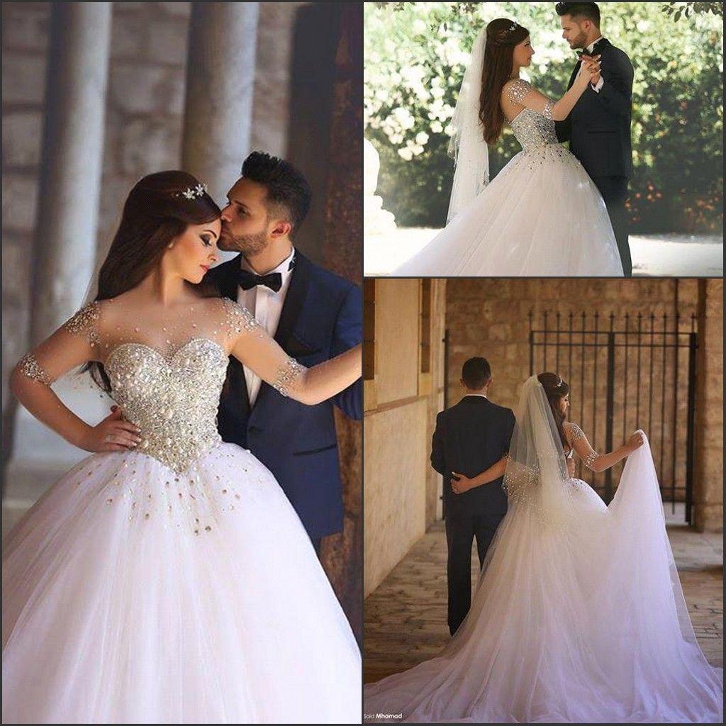 Arabic Long Sleeve 2017 New Wedding Dresses Basque Waist Illusion ...
