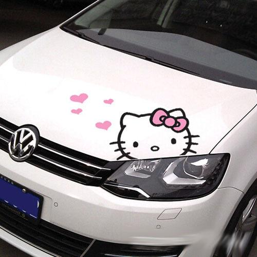 Women Girls Cute Kitty Car Stickers Pink Love Heart Fashioin - Cool car stickers for girls