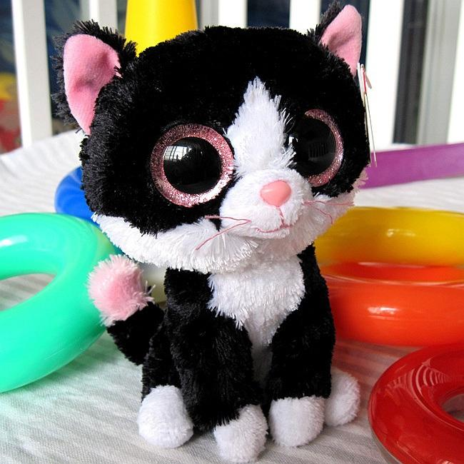 Ty Big Eye Plush Toys Soft Black Cat Doll 15cm Stuffed Animal Doll