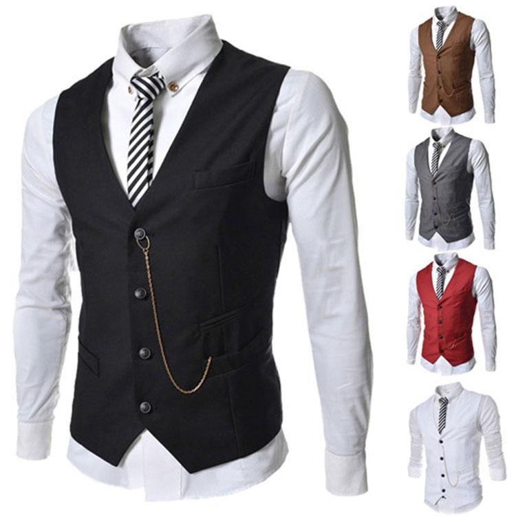 2018 men vests outerwear casual suits slim fit stylish