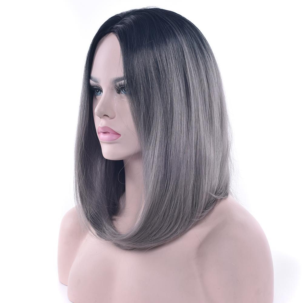 Hanzibeauty Synthetic Hair Black To Gray Purple Ombre Hair Short