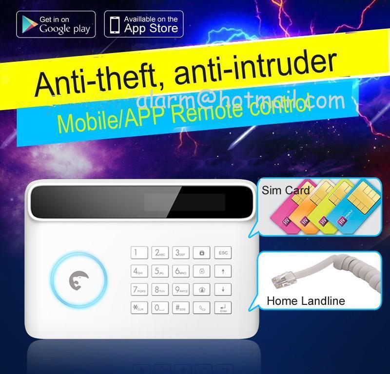 Frete Grátis DHL, Wired Sistemas de Alarme de Segurança Em Casa Sem Fio LCD Sensor de Teclado GSM Sistema de Alarme Inglês Alemão Espanhol Francês