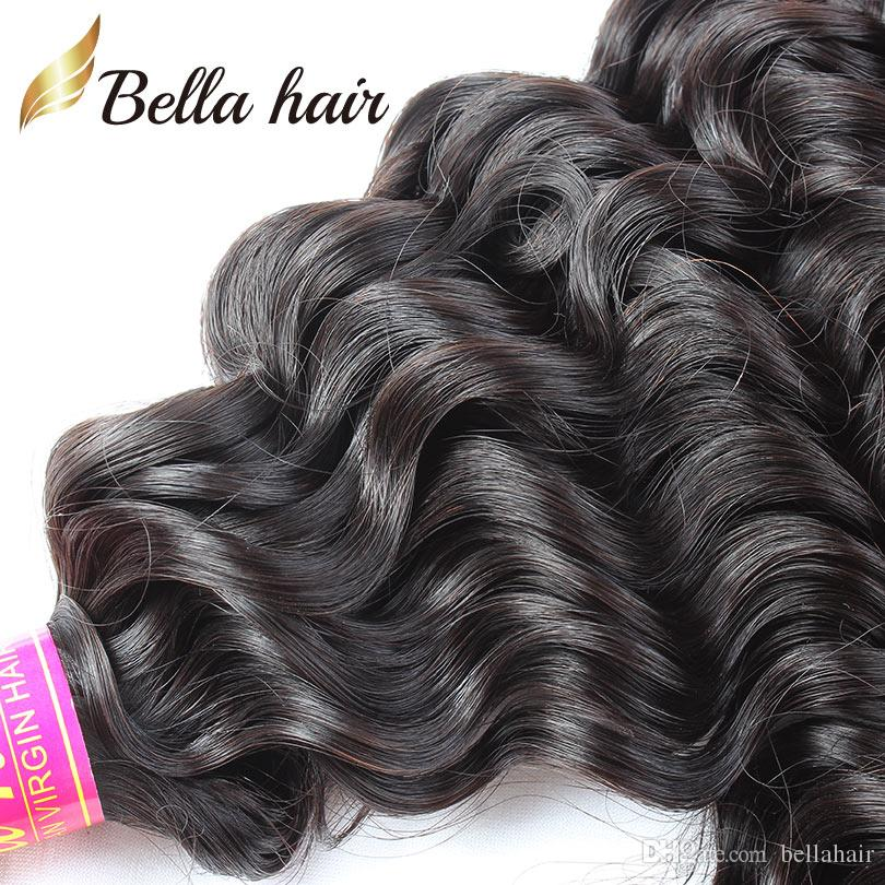 Bella Hair 100% Unprocessed Virgin Peruvian Hair Bundles With Lace Closure Deep Wave Wavy 4x4 Lace Closure Free Part with Baby Hair