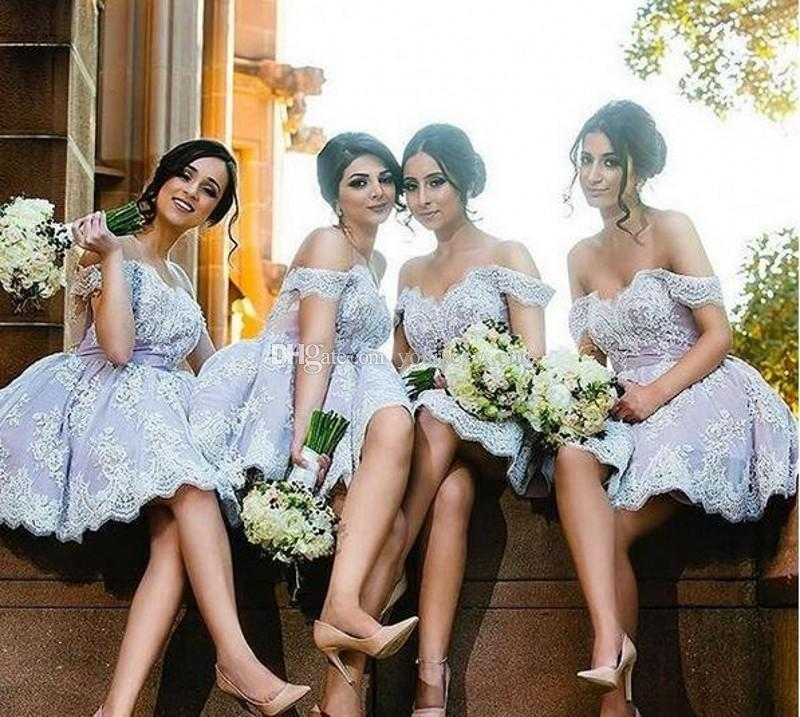 Lavender Lace Short Bridesmaid Dresses Sweetheart Off Shoulder Backless Short Bridesmaid Gowns Wedding Guest Dresses Cocktail Party Dresses