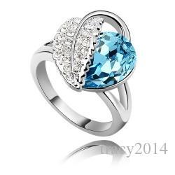 Новое прибытие кольцо корейский стиль с драгоценными камнями Австрия Кристалл чешский Алмаз кольца покрытие KC золото свадебные кольца бесплатная доставка