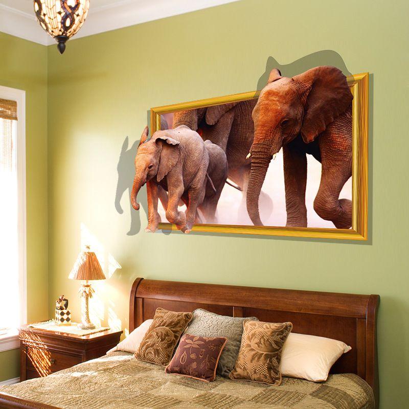 3d Wall Sticker Running Elephant Fake Window Home Decoration Diy ...