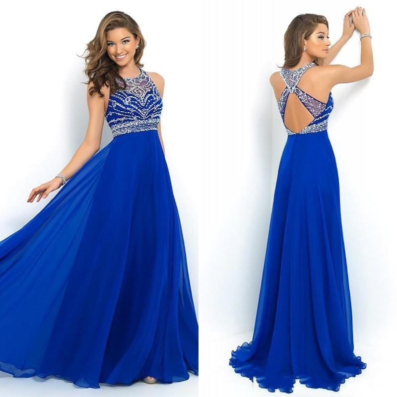 Fast Shipping Elegant Royal Blue Chiffon A Line Prom Dresses Cross Back Sparkly Beading Long Evening Party Gowns 2015 New