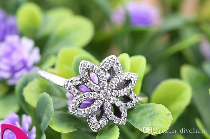2016 новые подлинные стерлингового серебра 925 кольца с clear CZ lotus, пригодный для pandora подвески ювелирные изделия женщины DIY мода пальцы кольцо горячей продажи