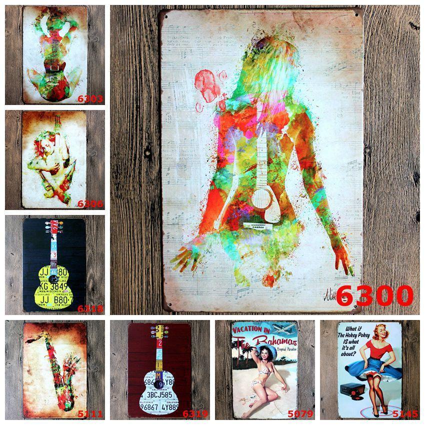 creative guitar gril musical wall decoration matal tin sign music wall art for bar home decor 2030cm