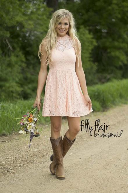 Western Bridesmaid Dresses with Boots