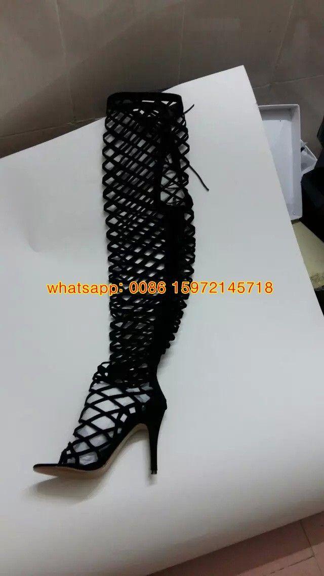 Image réelle Femmes Sexy Summer Style de coupe-circuit sandales bottes à bout ouvert à lacets et zip Chaussures Gladiator Femmes Noir Caged genou hautes bottes à talon