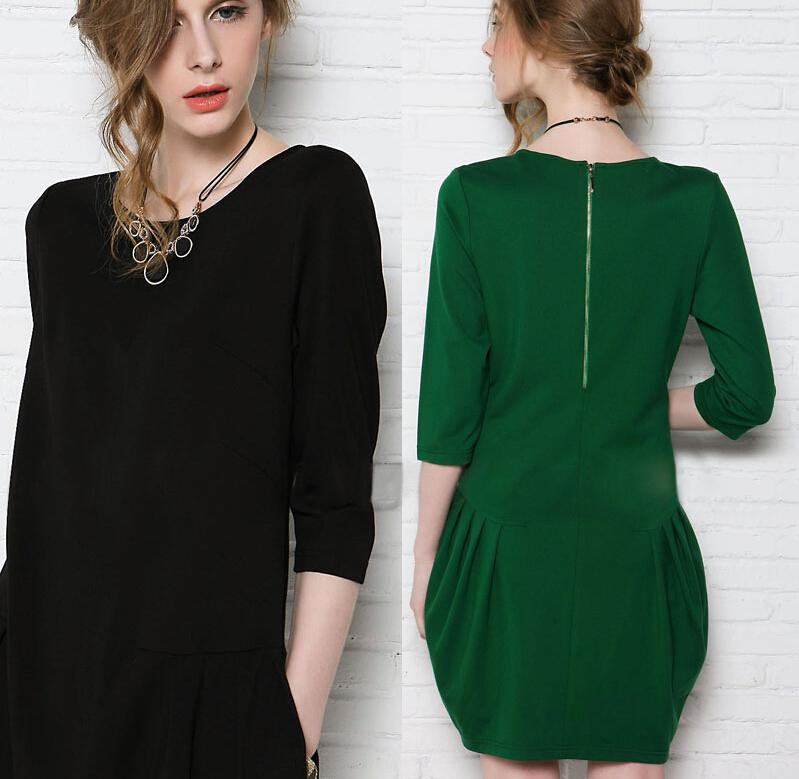 2016 Spring Women Clothes European and American Style Women's Round Neck Loose Ball Gown Cotton Casual dresses for Womens Plus Size S-4XL