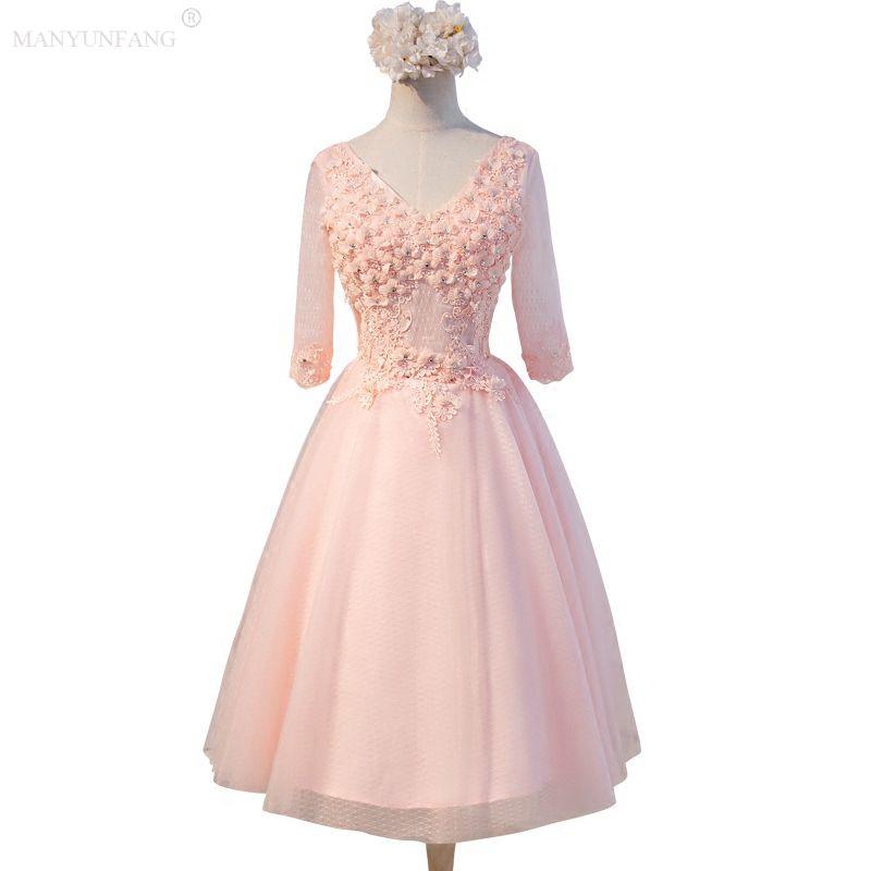 Элегантные длинные вечерние платья для женщин 2020 Кружева Длинные рукава длиной до колен Корсет платья невесты V шеи Hand Made Свадебные цветы Гость