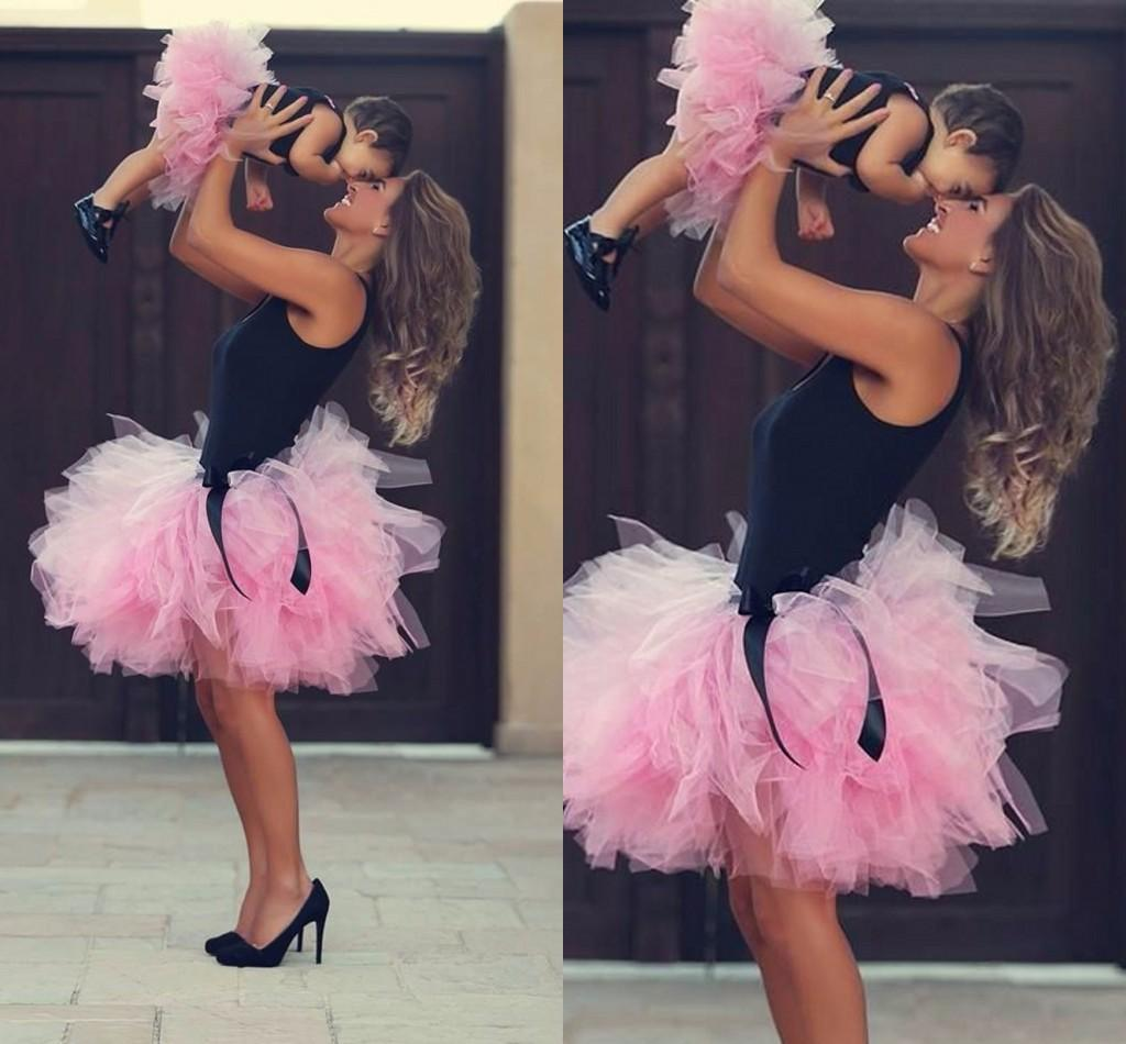 76009546eb 2015 Pink Short Skirts Mother And Daughter Tutu Skirts Ball Gown Family  Clothing Custom Made Tulle Ruffles Skirts Little Prom Party Dresses Mother  And ...