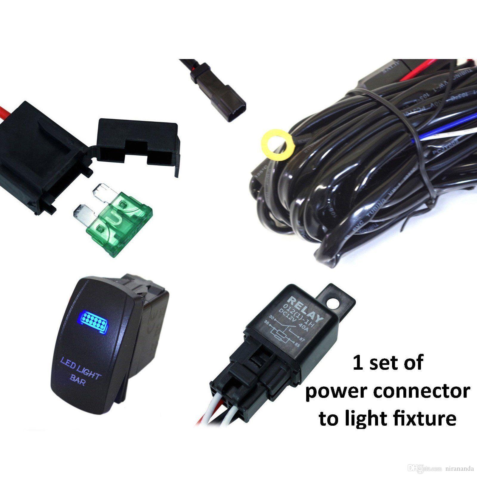 Discount 40a Wiring Harness Kit With 20a Led Light Bar Laser Rocker 2 Sets Of Power Connectors To Fixtures