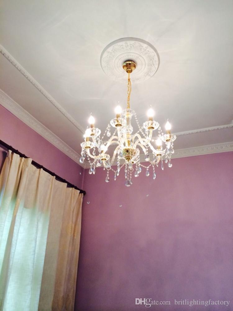 Lampadario in cristallo oro 8 luci lampadario a soffitto moderno lampadario a soffitto moderno lampadari di cristallo di cristallo di Murano lampadario in stile veneziano