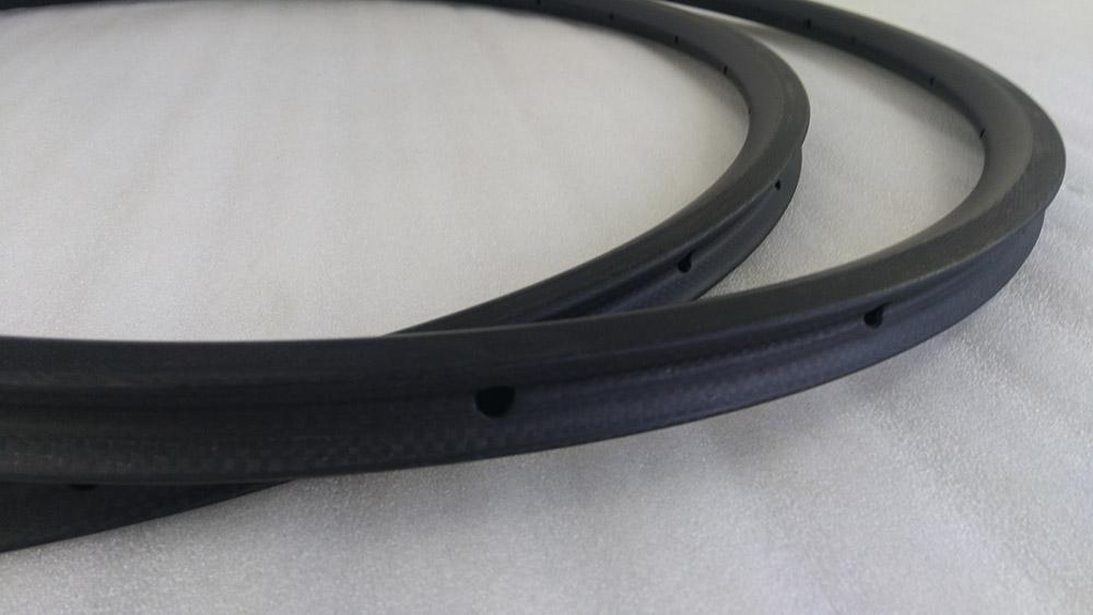 Tubular 24mm light road bike rims 23mm width 20/24h carbon bicycle rims 3K matte surface basalt braking track bike wheel rim