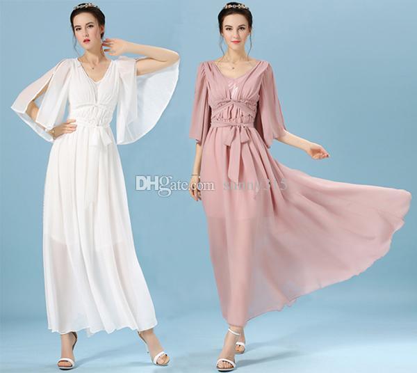 New Arrival Plus Size Women Vintage Chiffon Dress Lady Elegant Greek