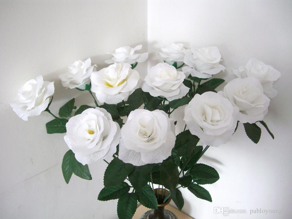 2018 Ivory Cream White Silk Flower Rose With Stems Fake Artificial