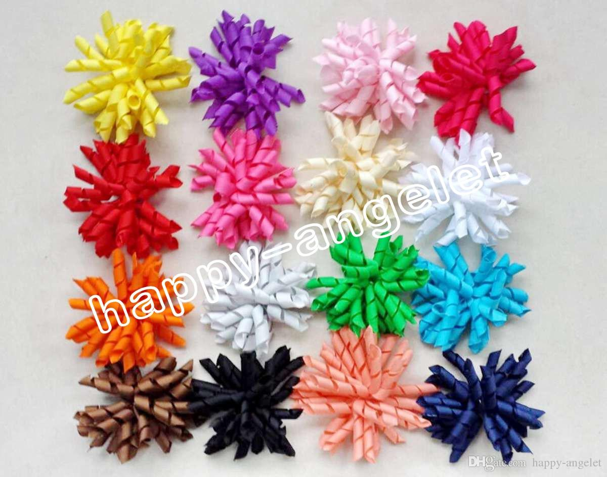 3.5 Children S Curly Ribbon Hair Bows Clips Flowers Corker Barrettes Korker  Hair Bobbles Side Clip Hair Tie Accessories Kids PD007 Feather Hair  Accessories ... 9327a4121bb