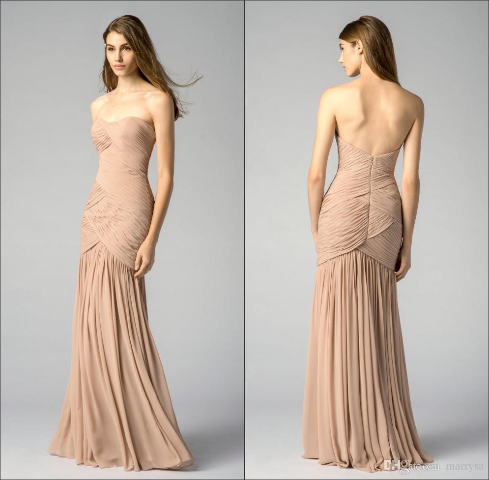 Simple Sweetheart Neckline Long Formal Bridesmaid Dresses