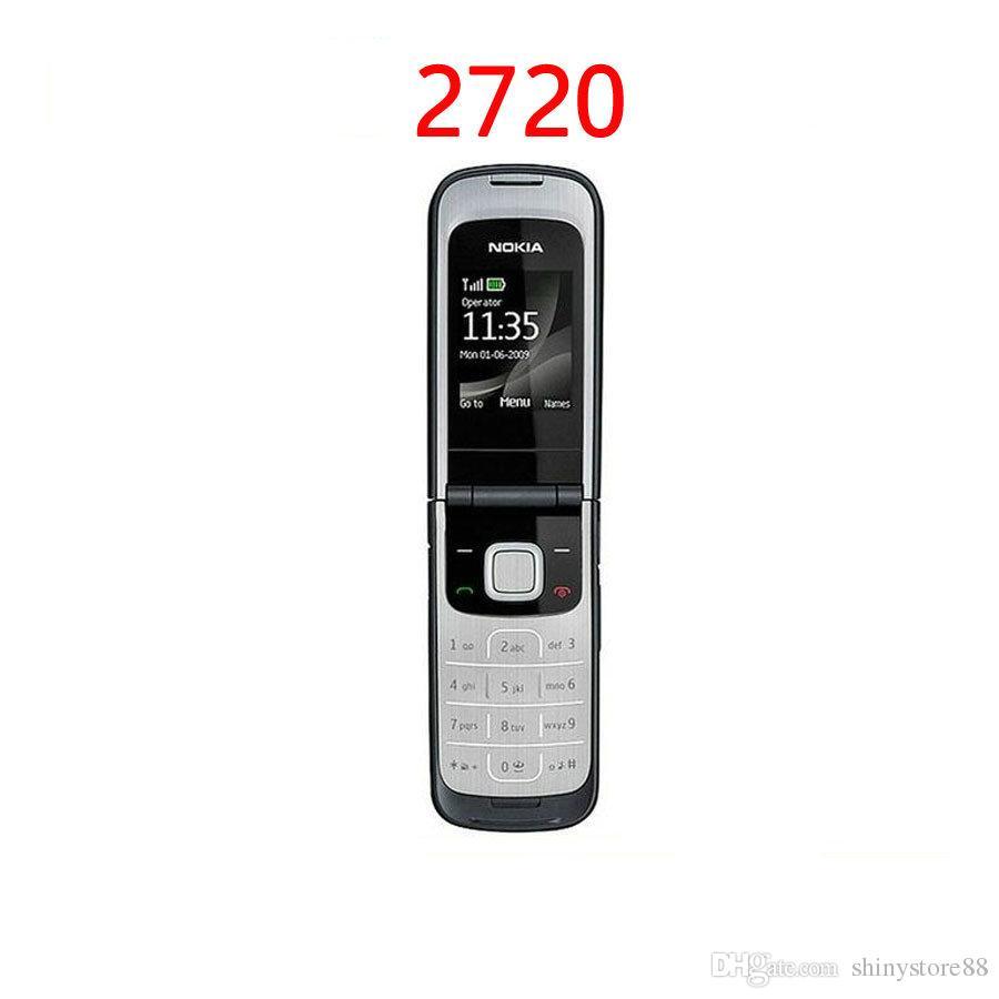 غير مقفلة Nokia 2720 تم تجديد الهاتف الخليوي المجدد 1.3 MP 2G شبكة GSM 900/1800 العربية لوحة مفاتيح اللغة الإنجليزية الروسية