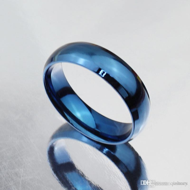 Simple Design Classic Wedding Rings Blue Black Gold Filled Titanium