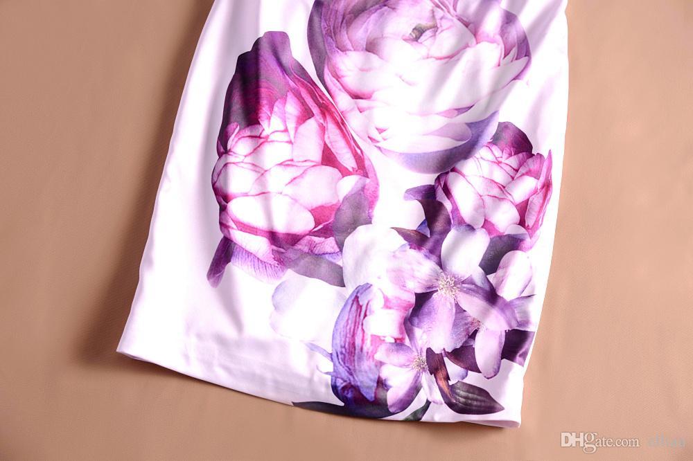 Flor Imprimir Mulheres Bainha Vestido Elegante Com Decote Em V Cap-Luva Vestidos 120828