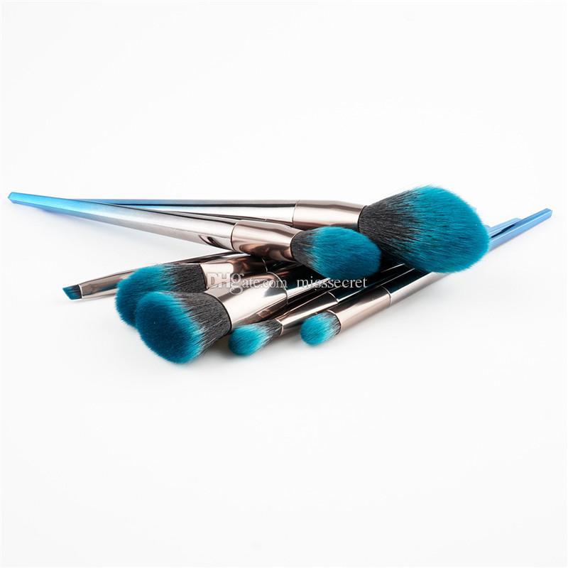 7 ADET Alev Pırlanta Makyaj Fırça Setleri Ile Zihinsel Kolu Mavi koyu Yumuşak Fırça Yüz Makyaj Fırça Kaş göz farı Toz Makyaj Fırçalar Aracı