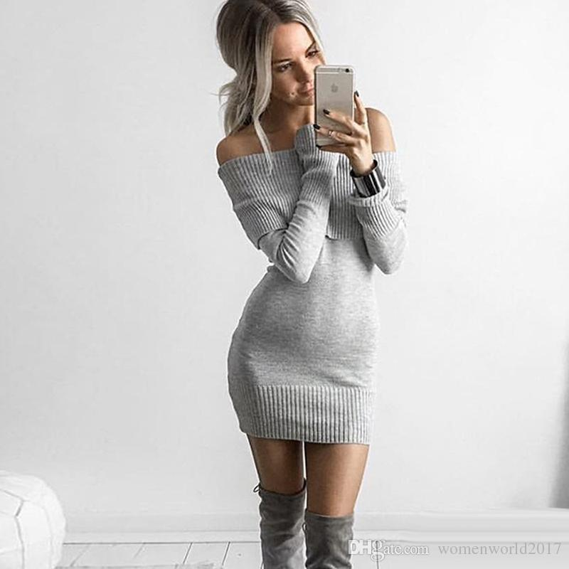 Mulheres de alta Qualidade De Malha Casual Vestido Branco Preto Cinza Manga Longa Mini Vestido Bodycon Sexy Off-Ombro Vestidos de Festa de Natal