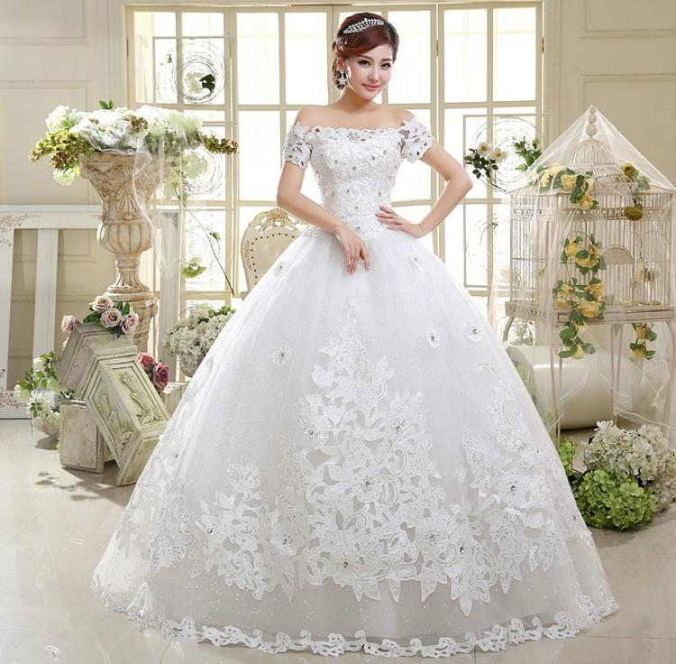 Ball Gown Wedding Dresses Korean Fashion Vestidos One Word Shoulder ...