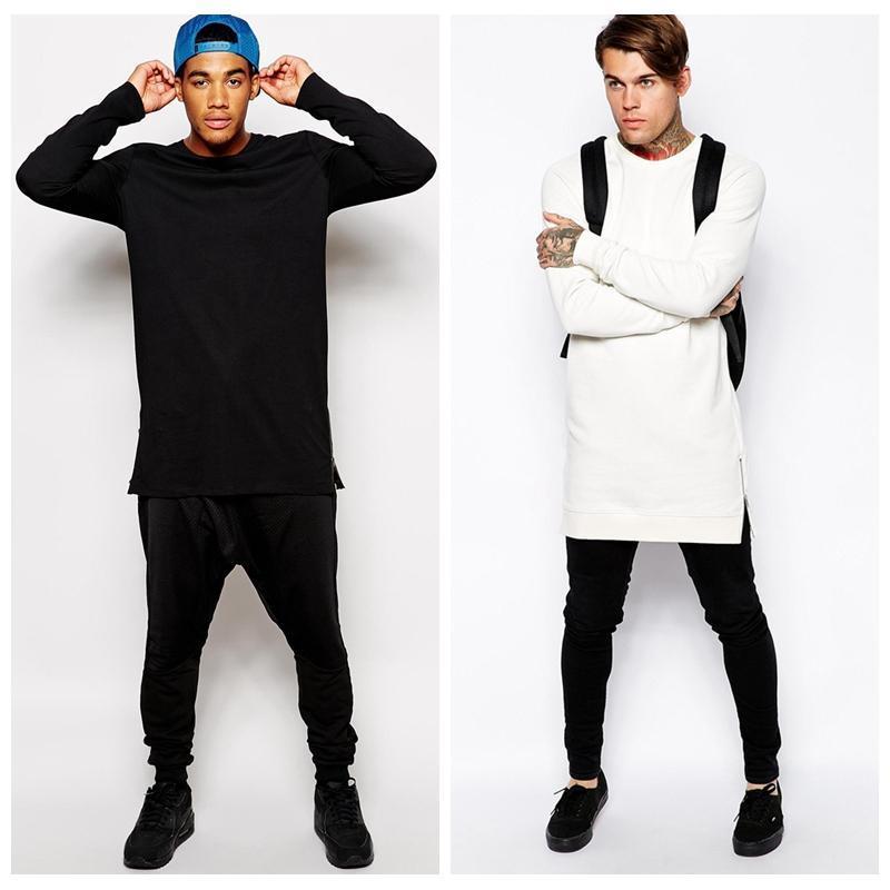 Brand New Fashion Fitness Long Sleeve T Shirt Side Zipper T Shirt ...