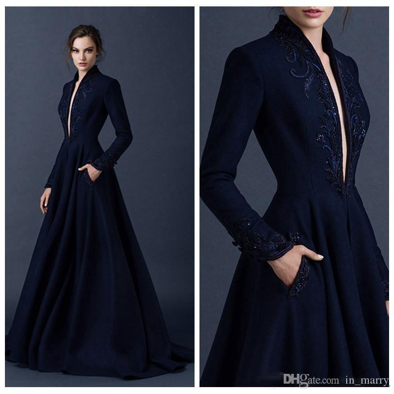 Paolo Sebastian Navy Blue Evening Dresses With Pocket 2015 Long