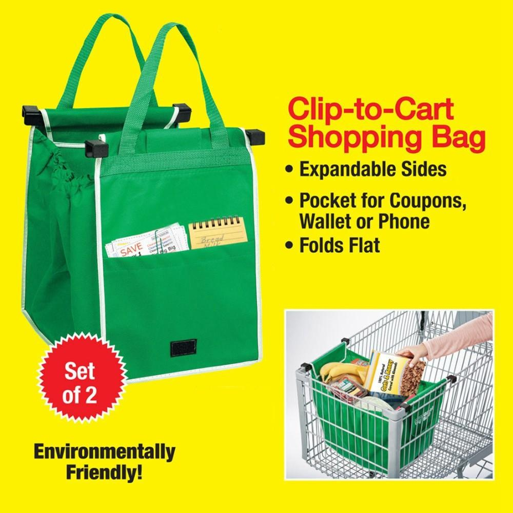 New Grab Bag 2 Pack Reusable Ecofriendly Shopping Bag That Clips ...